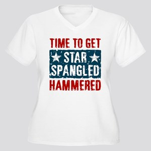 Star Spangled Hammered Women's Plus Size V-Neck T-