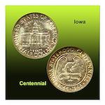 Iowa Centennial Coin Square Magnet 3x3 in