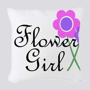 Purple Daisy Flower Girl Woven Throw Pillow