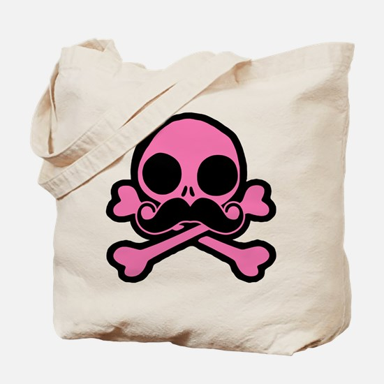 Pink Skull With Moustache Tote Bag