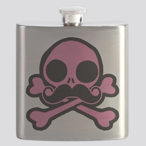 Pink Skull With Moustache Flask