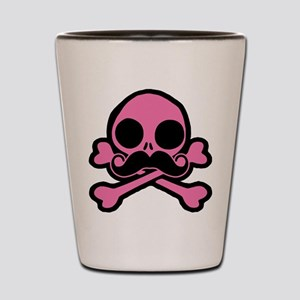 Pink Skull With Moustache Shot Glass