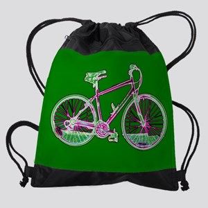 Ditch the Car Ride A Bicycle Green Drawstring Bag