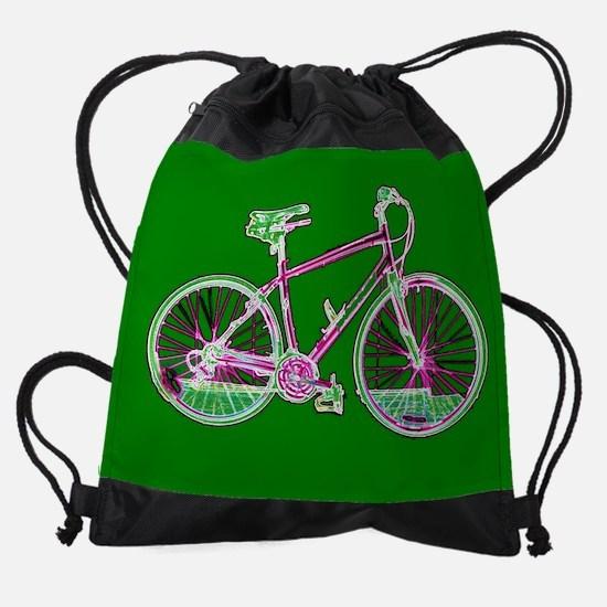 Ditch the Car Ride A Bicycle Green Drawstring Bag