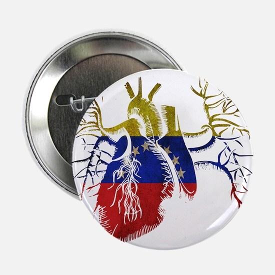 "Venezuela Flag in Real heart 2.25"" Button"