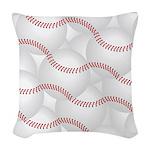 Baseballs Woven Throw Pillow