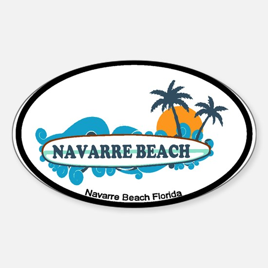 Navarre Beach - Surf Design. Sticker (Oval)