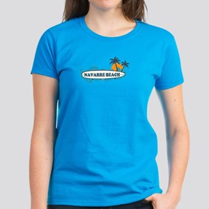 Navarre Beach - Surf Design. Women's Dark T-Shirt