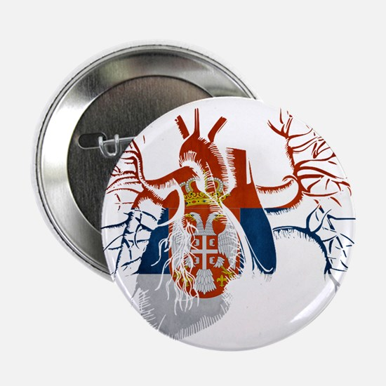 """Serbia Flag in Real heart 2.25"""" Button"""