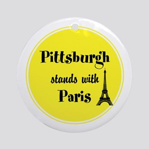 Pittsburgh stands with Paris Round Ornament