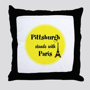 Pittsburgh stands with Paris Throw Pillow