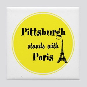 Pittsburgh stands with Paris Tile Coaster