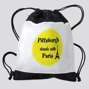 Pittsburgh stands with Paris Drawstring Bag