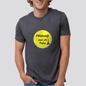 Pittsburgh stands with Paris Mens Tri-blend T-Shir