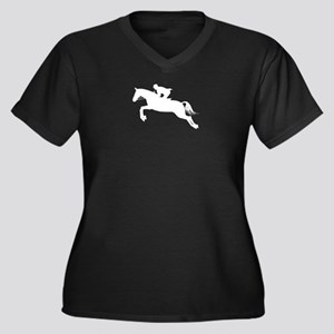 Horse Jumping Silhouette Women's Plus Size V-Neck