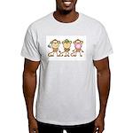 Hear See Speak No Evil Monkey Ash Grey T-Shirt