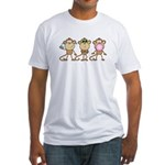 Hear See Speak No Evil Monkey Fitted T-Shirt