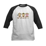Hear See Speak No Evil Monkey Kids Baseball Jersey