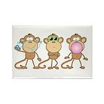 Hear See Speak No Evil Monkey Rectangle Magnet (10