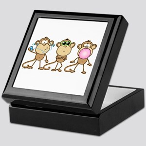 Hear See Speak No Evil Monkey Keepsake Box