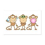 Hear See Speak No Evil Monkey Mini Poster Print