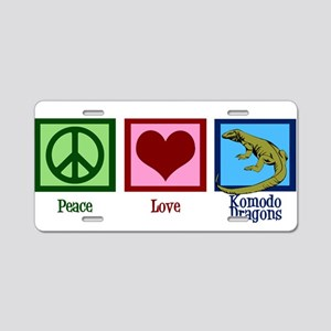 Peace Love Komodo Dragons Aluminum License Plate