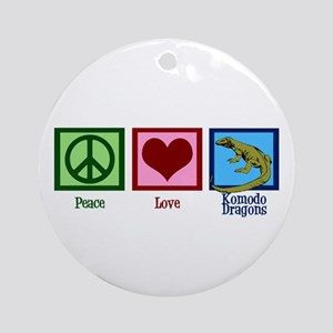 Peace Love Komodo Dragons Ornament (Round)