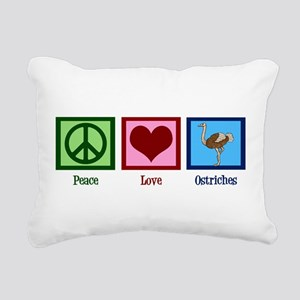 Peace Love Ostriches Rectangular Canvas Pillow