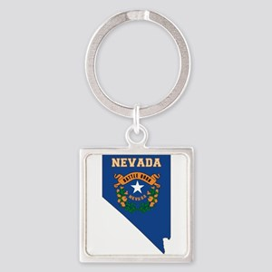 Nevada Flag Square Keychain