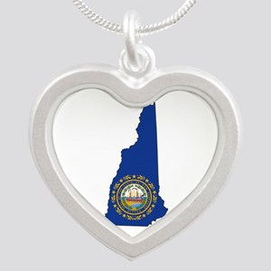 New Hampshire Flag Silver Heart Necklace