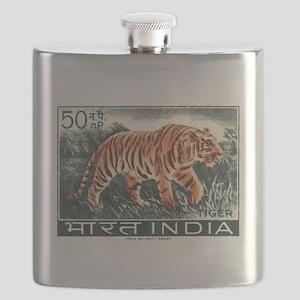 Vintage 1963 India Tiger Postage Stamp Flask