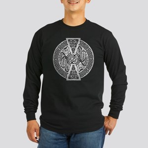 Celtic Dragons Silver Long Sleeve Dark T-Shirt