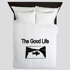 The Good Life. (fisherman on the lake) Queen Duvet