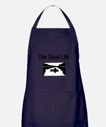 The Good Life. (fisherman on the lake) Apron (dark
