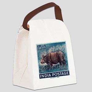 Vintage 1962 India Rhinoceros Postage Stamp Canvas