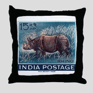 Vintage 1962 India Rhinoceros Postage Stamp Throw