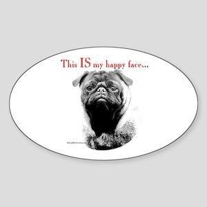 Pug 3 Oval Sticker
