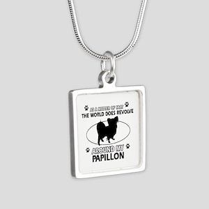 Papillon dog funny designs Silver Square Necklace