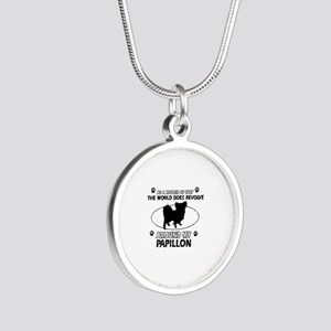 Papillon dog funny designs Silver Round Necklace