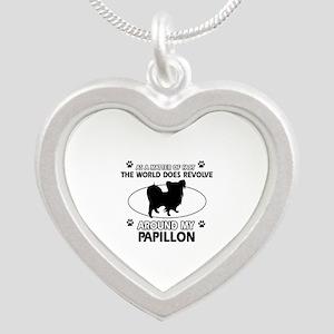 Papillon dog funny designs Silver Heart Necklace