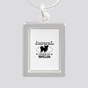 Papillon dog funny designs Silver Portrait Necklac