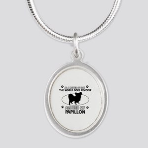 Papillon dog funny designs Silver Oval Necklace