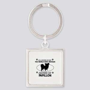 Papillon dog funny designs Square Keychain