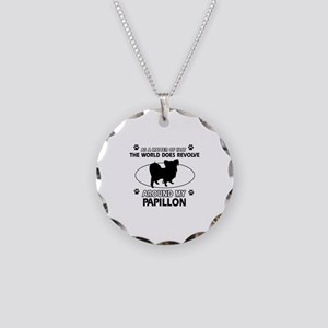 Papillon dog funny designs Necklace Circle Charm