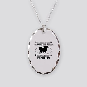Papillon dog funny designs Necklace Oval Charm