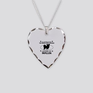 Papillon dog funny designs Necklace Heart Charm