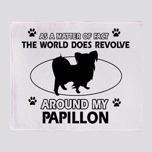 Papillon dog funny designs Throw Blanket