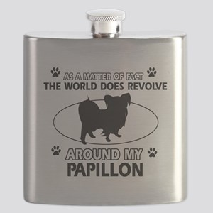 Papillon dog funny designs Flask