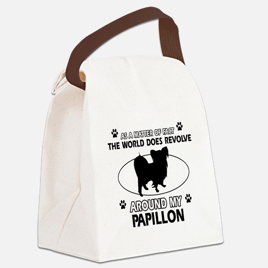 Papillon dog funny designs Canvas Lunch Bag