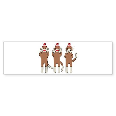 Three Monkeys Bumper Sticker